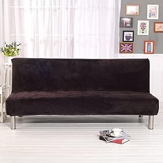 Younar Solid Color Armless Futon Sofa Bed Cover FullSize ThickerPlushSofaCoverProtectorSofa Slipcover (Coffee)