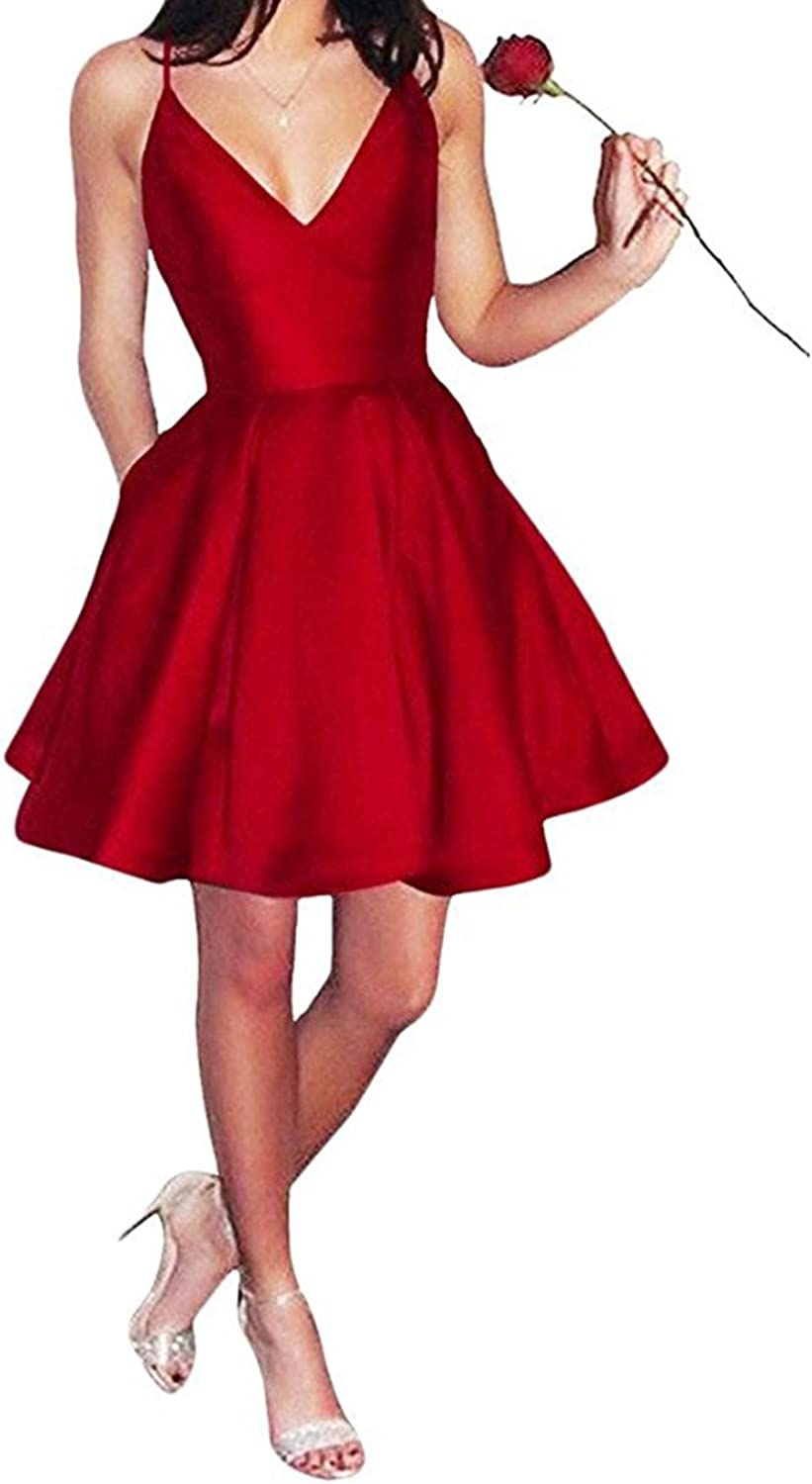 Alilith Z Womens Spaghetti Strap Satin Homecoming Party Dresses Deep V Neck Short