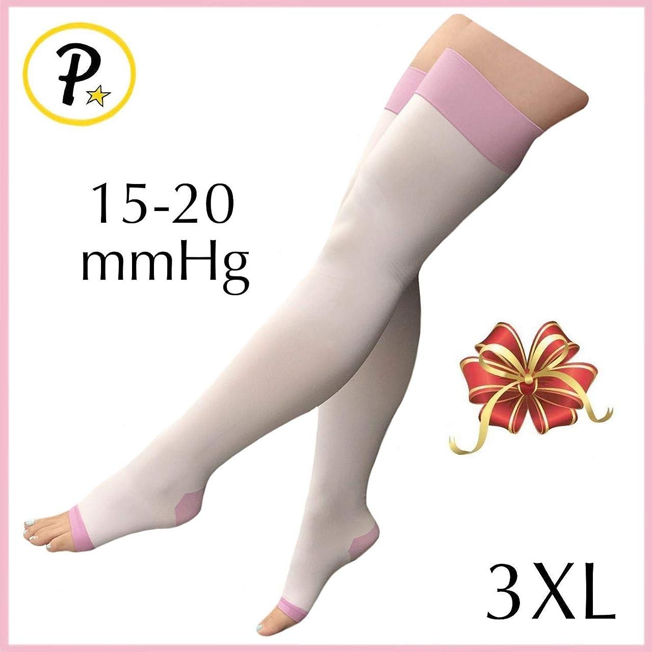 Presadee Women's Overnight Thigh High 15-20 mmHg Compression Slimming Plus Size Wide Big Leg Legging Open Toe Purple Stocking (3XL)