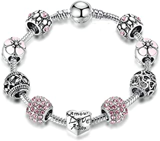 Crystal Bees Gold Color Charm Bracelet For Girl Glass Beads Fine Bracelet For Women DIY Jewelry Gift Red 16cm