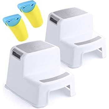 ACKO 2 Step Stool for Kids - Childrens,Toddler Stool with Slip Resistant Soft Grip for Safety as Bathroom Toilet Potty Training Stool and Kitchen Stepping Stool | Dual Height & Wide Two Step-BPA Free