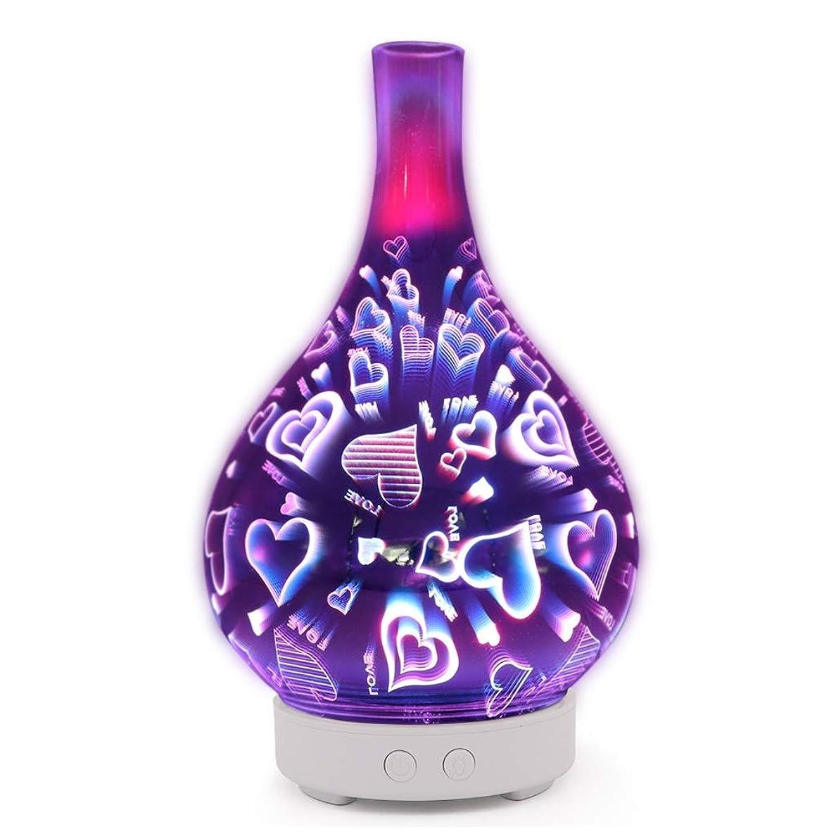 ナイロン横向き法的すばらしいLEDライト、便利な自動操業停止および大きい水漕が付いている3Dガラスギャラクシー優れた超音波加湿器 (Color : Love)
