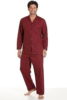 Mens Haigman Polycotton Long Pyjama nightwear lounge wear Wine 2XL