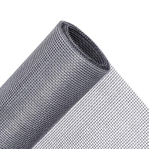 MAGZO Window Screen Replacement, 48'W x 99'L Durable Fiberglass Adjustable Screen for Windows and Door DIY Window Screen Roll French Patio Entry Porch Sliding Door Screen Mesh Curtain Net Wire Grey