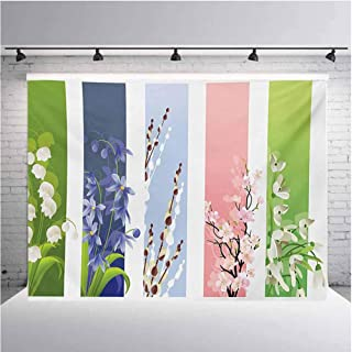 Flower Photography Background Cloth Spring Flowers on Different Backgrounds Lily Blossoms Valley Primrose Floral Print for Photography,Video and Televison 10ftx5ft Multicolor