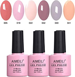 AIMEILI Soak Off UV LED Pastel Nude Gel Nail Polish Multicolour/Mix Colour/Combo Colour Set Of 6pcs X 10ml - Kit 22