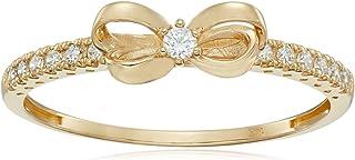 10K Gold Dainty Bow Ring set with Round Cut Swarovski...