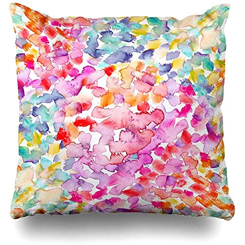 Hangdachang Light Yellow Dot Bright Pink Turquoise Abstract Watercolor Green Polka Paint Vibrant Pillowcases Home Decorative Super Soft Throw Cushion Cover 18 X 18 Inch