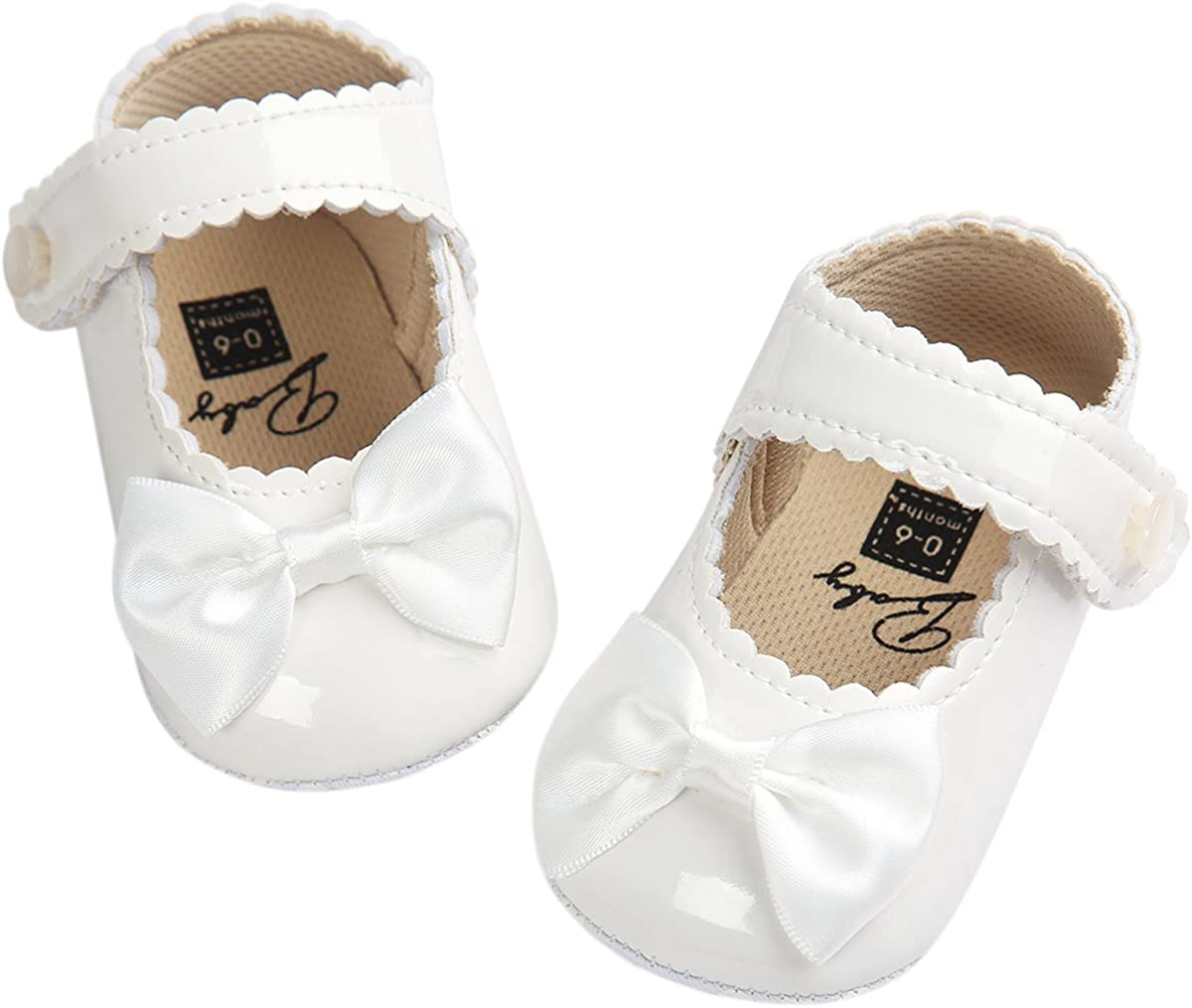   Fire Frog Baby Girls Mary Jane Pu Leather Bowknot Pincess Prewalker Christening Baptism Crib Shoes White   Mary Jane
