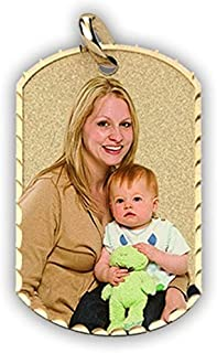 Photo Engraved Dog Tag Photo Pendant - Solid 14K Yellow, White, or Sterling Silver in 4 Sizes