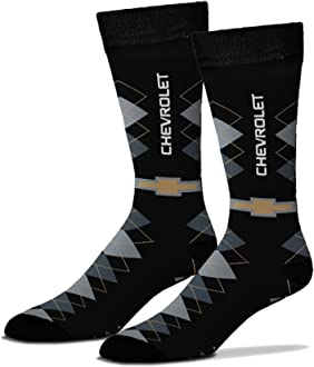 Gregs Automotive Chevrolet Chevy Bowtie Argyle Crew Socks Bundle with Driving Style Decal Greg/'s Automotive
