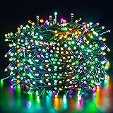 Quntis Luci Natale Esterno 50m 500 LED, IP44 Impermeabile Catena Luminosa Colorata, Natale decorazioni Interno, illuminazione Natalizia per Albero Casa Ghirlanda Giardino Balcone Terrazzo Gazebo Feste