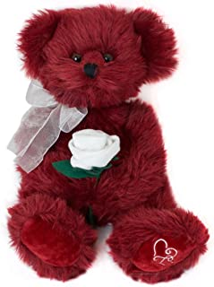 Bernie the Burgundy Merlot Teddy Bear With White Rose by Russ Berrie - Stuffed Animal With Embroidered Heart Paws - 14
