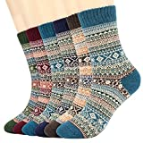 Tencoz 6 Pares de Calcetines Termicos Grueso Calcetines Mujeres Calcetines de Invierno Caliente Suave cómodo Calcetines de la Historieta térmicos