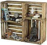 LAUBLUST 4er Set Vintage Holzkisten - Kisten in 2 Größen, 50x40x30cm / 40x30x25cm, Geflammt, Neu, Unbenutzt | Möbel-Kiste | Wein-Kiste | Obst-Kiste | Apfel-Kiste | Deko-Kiste aus Holz
