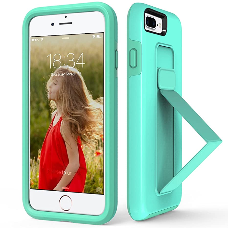 iPhone 8 Plus Case, iPhone 7 Plus Case, ZVEdeng iPhone 7 Plus Stand Case Finger Strap Scratch Resistant Dual Layer Cover with Foldable Kickstand for Apple iPhone 7 Plus / 8 Plus 5.5'' Mint Green