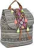 styleBREAKER Rucksack Handtasche Ethno Style mit Stickung, Perlen und Quasten, Tasche, Damen...