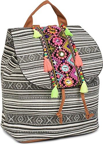 styleBREAKER Rucksack Handtasche Ethno Style mit Stickung, Perlen und Quasten, Tasche, Damen 02012246, Farbe:Schwarz-Weiß