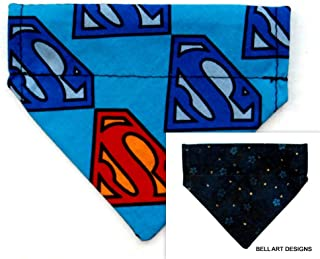 Bell Art Designs Superman, Floral, Dog Bandana, Over The Collar, Reversible, Extra Extra Small, 291