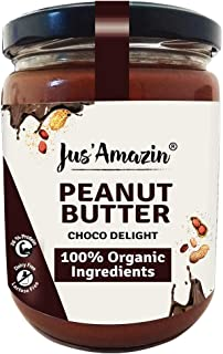 Jus' Amazin Organic Peanut Butter - Choco Delight - High Protein | Zero Cholesterol | 100% Natural | Dairy Free | Soy Free...