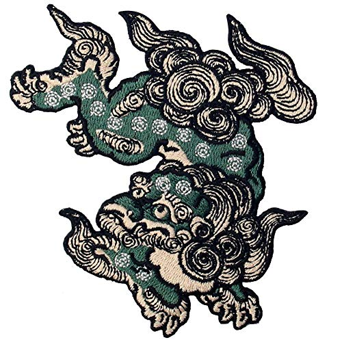 Komainu Guard Dog Patch Embroidered Japanese Applique Badge Iron On Sew On Emblem