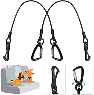 SlowTon Chew Proof Dog Seat Belt, Steel Cable Doggie Car Seatbelt 2 Packs Sturdy Safety Belt Puppy Vehicle Tether, with Latch Bar Attachment & Lockable Swivel Rock Climbers Carabiner