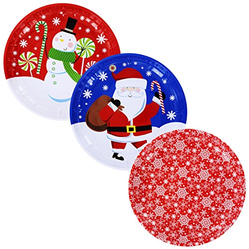 Christmas House Holiday Prints Round Tin Serving Trays Cookie Plates Christmas Platters Bundle Set Set of 3 10 inch