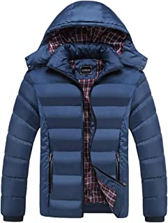 Mens Winter Long Sleeve Casual Thicken Jacket Warm Hooded Quilted Cotton Coats