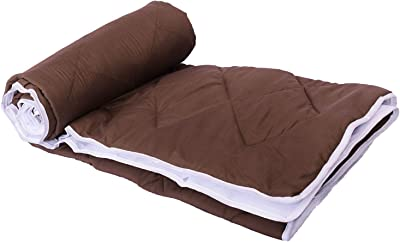 """Poorak Mattress and Bed Protector Waterproof for Baby - 78"""" X 70"""" inches Microfibre Fitted Double Bed Mattress Protector - Brown"""