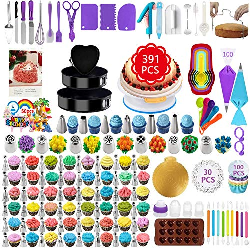 TONVVD Cake Decorating Supplies, 391 Pcs Baking Supplies Cake Decorating Kit for Beginners, 3 Baking Springform Cake Pans Set,54 Piping Icing Tips, 7 Russian Nozzles, Daking Pans,Cake Decorating Tools