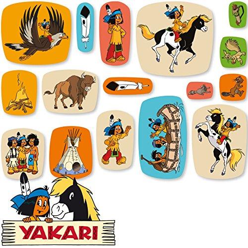 Yakari 48-teiliges XXL-Konfetti Kinderparty und Kindergeburtstag von DH-Konzept // Indianer Indianerjunge Sioux Kleiner Donner Deko Party Set