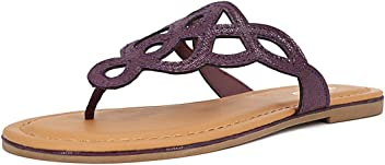 TIHOO Womens T-Strap Flat Thong Slip On Sandals Dress Or Casual Flip Flops