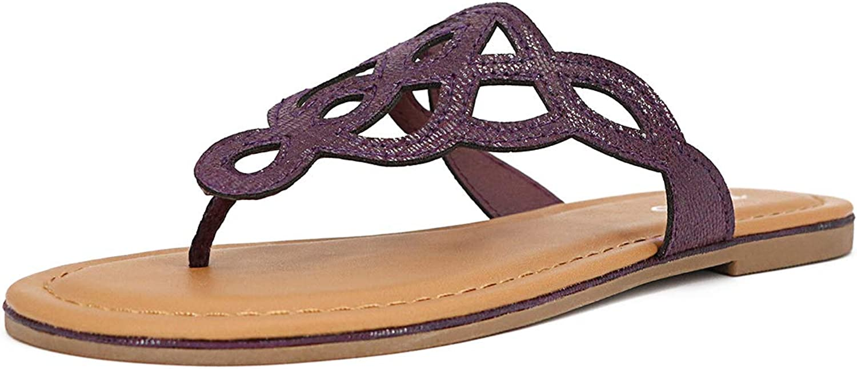 TIHOO Women's Strappy Flip Flops Summer Flat Thong Sandals