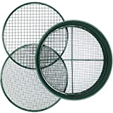 KOOLPUG Garden Sieve, 3 in 1 Metal Soil Sieve with Interchangeable Mesh Sizes 12mm/6mm/3mm, Fine Mesh Sieve Garden, Garden Riddle, Perfect Gardening Tool for Sifting Soil, Stones, and Compost