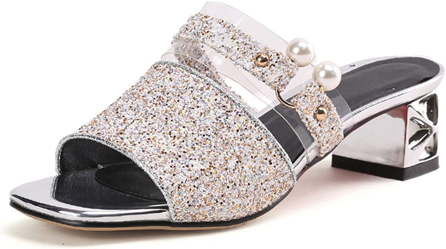 IDIFU Women's Sparkly Sequins Mid Chunky Heeled Open Toe Mule Sandals for Party