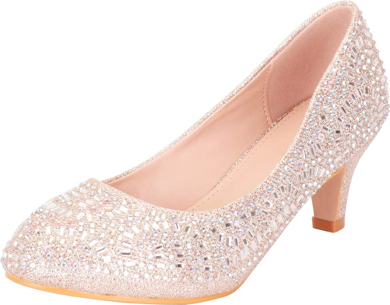 Cambridge Select Women's Closed Round Toe Slip-On Glitter Crystal Rhinestone