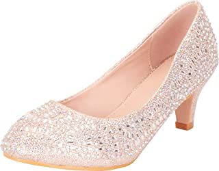 Women's Closed Round Toe Slip-On Glitter Crystal Rhinestone Kitten Heel Dress Pump