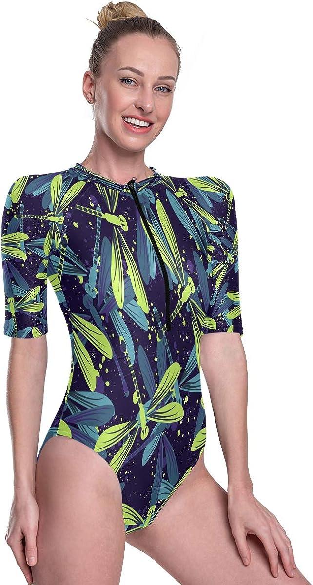 Womens Zip Up Printed Short Sleeve 1 Piece Rash Guard Swimsuit Hand Drawn Stylized Dragonflies Stylish Swimwear