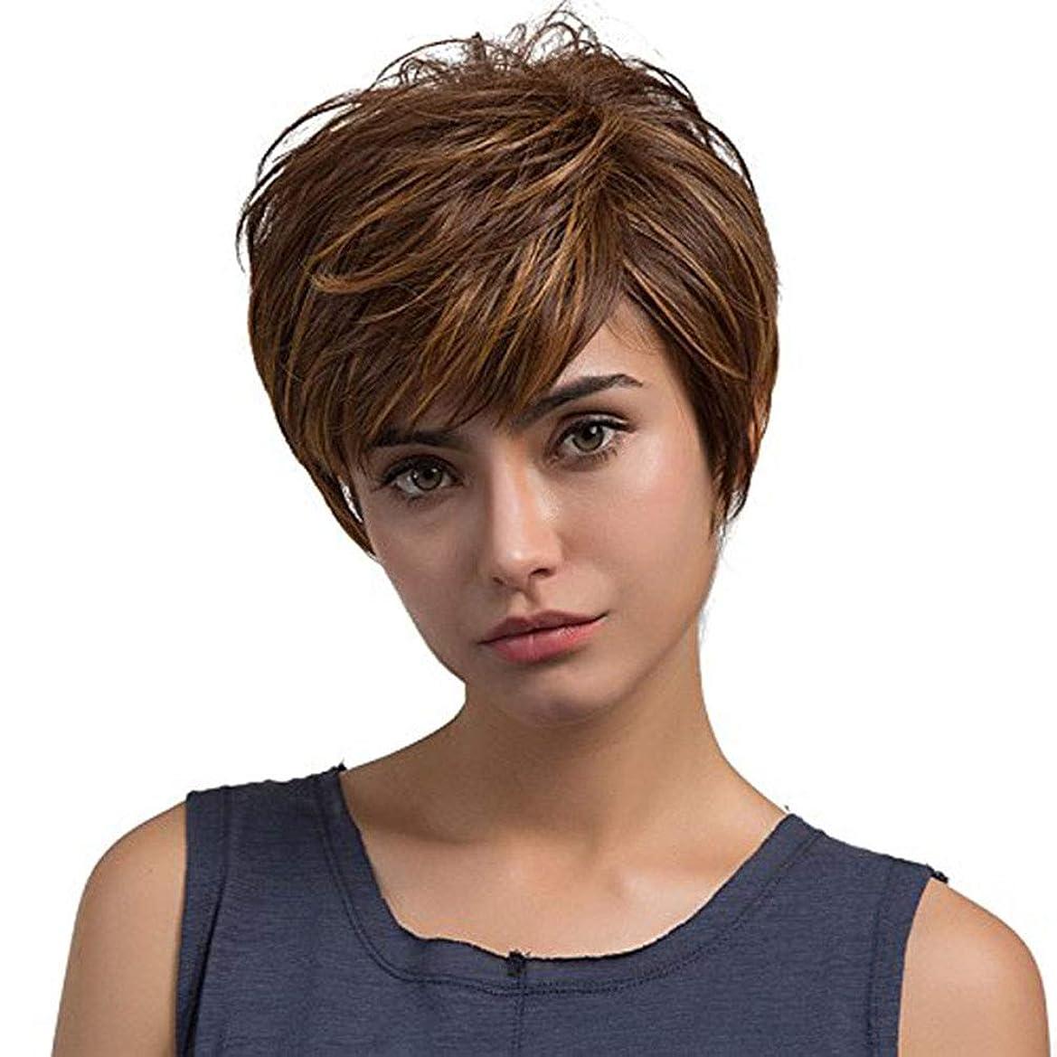 貸し手おめでとう独立したかつら茶色の短い髪混合色ストレート合成かつら髪の延長は、女性のための髪の前髪で現実的な 130% 毎日のパーティーのハロウィーンのための高密度