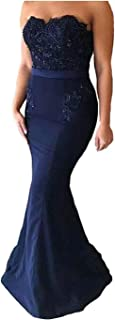 Yuxin Women's Dark Lace Mermaid Prom Dresstrapless Long Bridesmaid Dress Evening