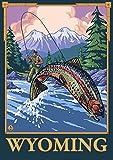Wyoming, Fly Fishing Scene (9x12 Wall Art Poster, Digital Print Decoration)