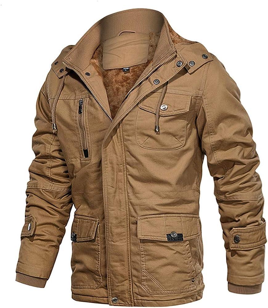 EKLENTSON Men's Winter Coats Fleece Lined Multi Pockets Thicken Cotton Parka Jacket with Removable Hood