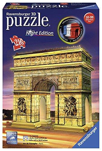 Ravensburger- ARC De Triomphe Edition Puzzle 3D Arco del Triunfo Night 216 Piezs. (12522)