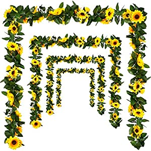 U/N 4 Pack Artificial Sunflower Garland Silk Sunflower Hanging Vine Garland with Flowers Green Leaves for Wedding Table Garden Craft Party Decoration