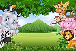 YongFoto 2,2x1,5m Fondo de Fotografia Bosque Divertido Animal Dibujos Animados Mono Cebra león Ceremonia Bienvenida Baby Shower Telón de Fondo Photo Booth Party Banner Niños Photo Studio Atrezzo