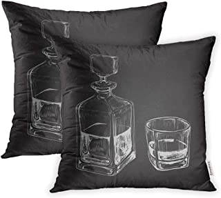 Emvency Set of 2 Throw Pillow Covers Print Polyester Zippered Bourbon Sketch Whiskey Bottle and Glass Drink Decanter Pillowcase 18x18 Square Decor for Home Bed Couch Sofa