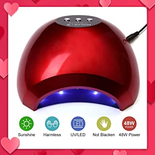 NATPLUS Red Nail Dryer 48W UV LED Nail Curing Lamp Light for Soak Off Nail Gel Lamp Manicure Pedicure Dryer with Sensor High Speed