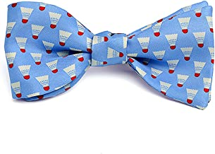 product image for Josh Bach Men's Badminton Birdie Self Tie Silk Bow Tie Blue, Made in USA