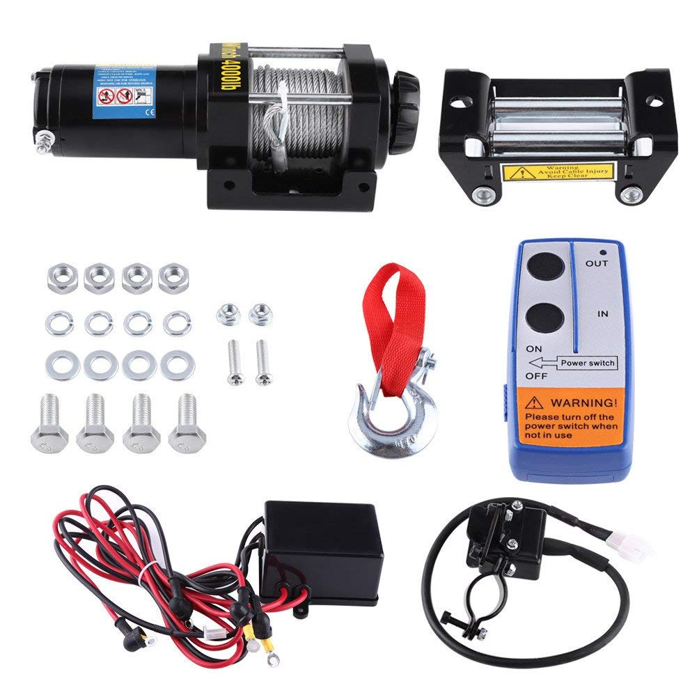 Wireless Remote Control 12V 4WD ATV UTV Trailer Truck Car 12V 4000lbs ATV Electric Recovery Winch Kit