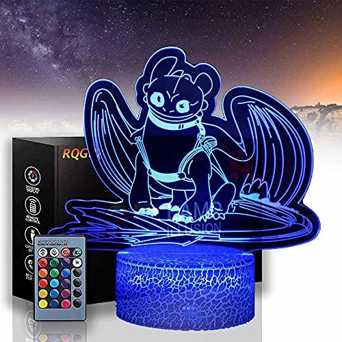 Sin dientes A 3D LED ilusión lámpara noche luz 16 colores noche luz con control remoto para dormitorio de niños, luz led para cumpleaños